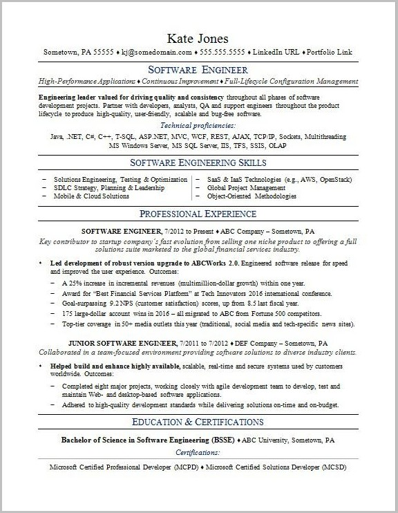 Resume Template Word Software Developer