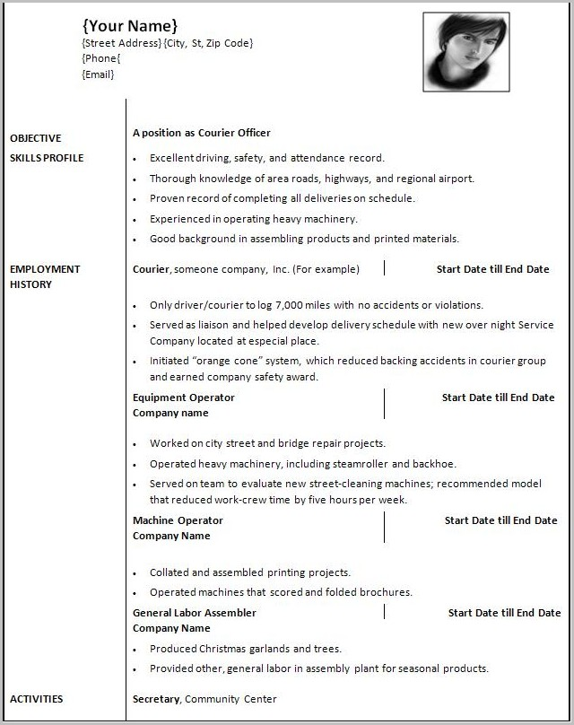 Resume Templates For Word 2010