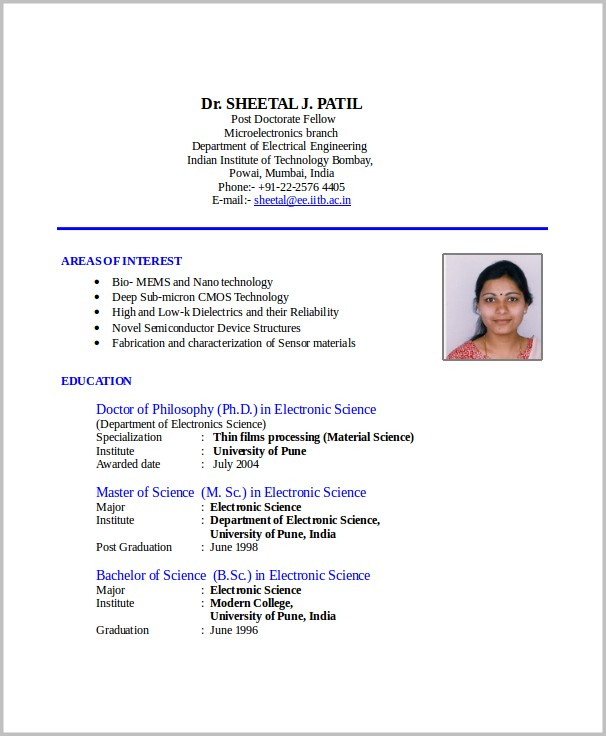 Resume Templates Word India