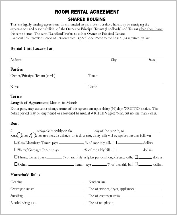 Room Lease Agreement Template Word