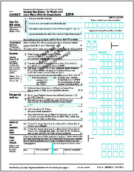 Sample 1040ez Tax Form