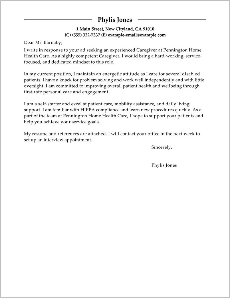 Sample Caregiver Cover Letter Resume