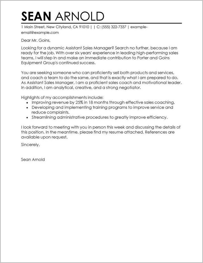 Sample Cover Letter And Resume Pdf