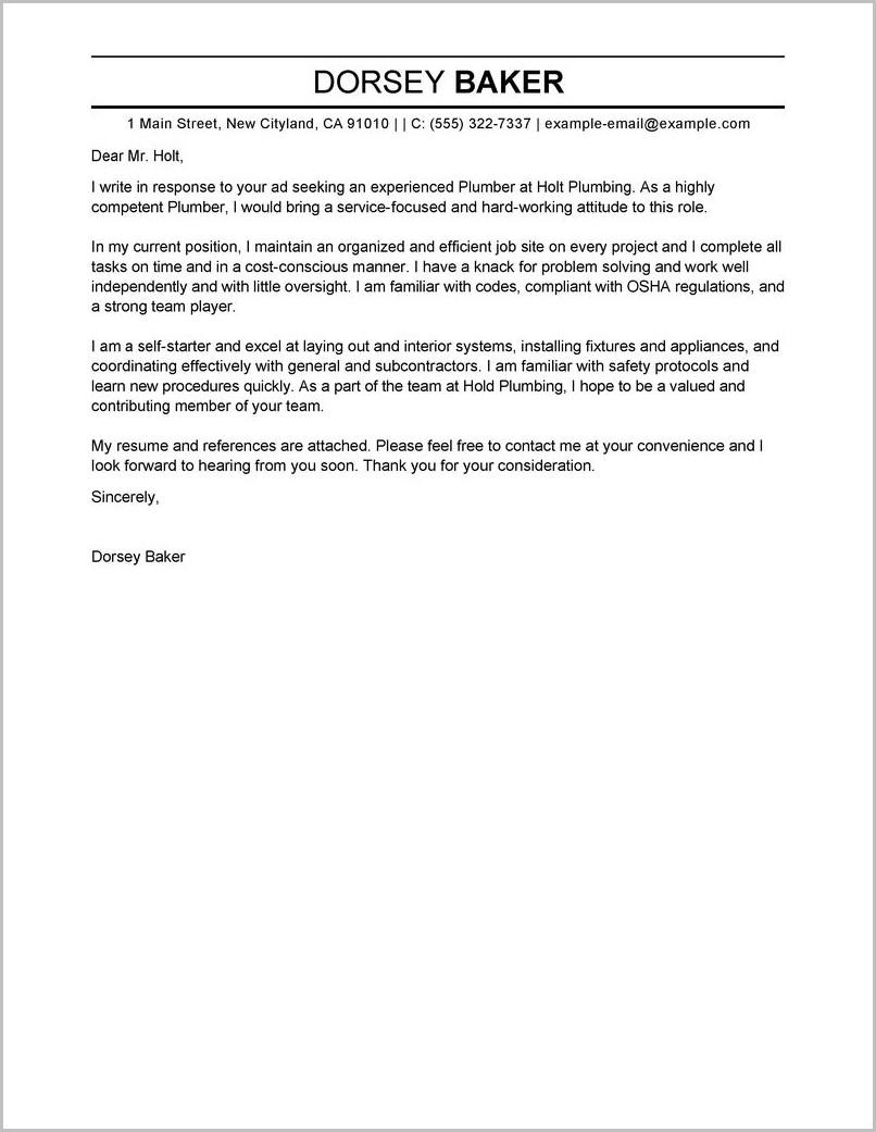 Sample Cover Letter For Plumber Helper