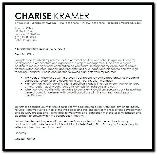 Sample Cover Letter For Resume Architect