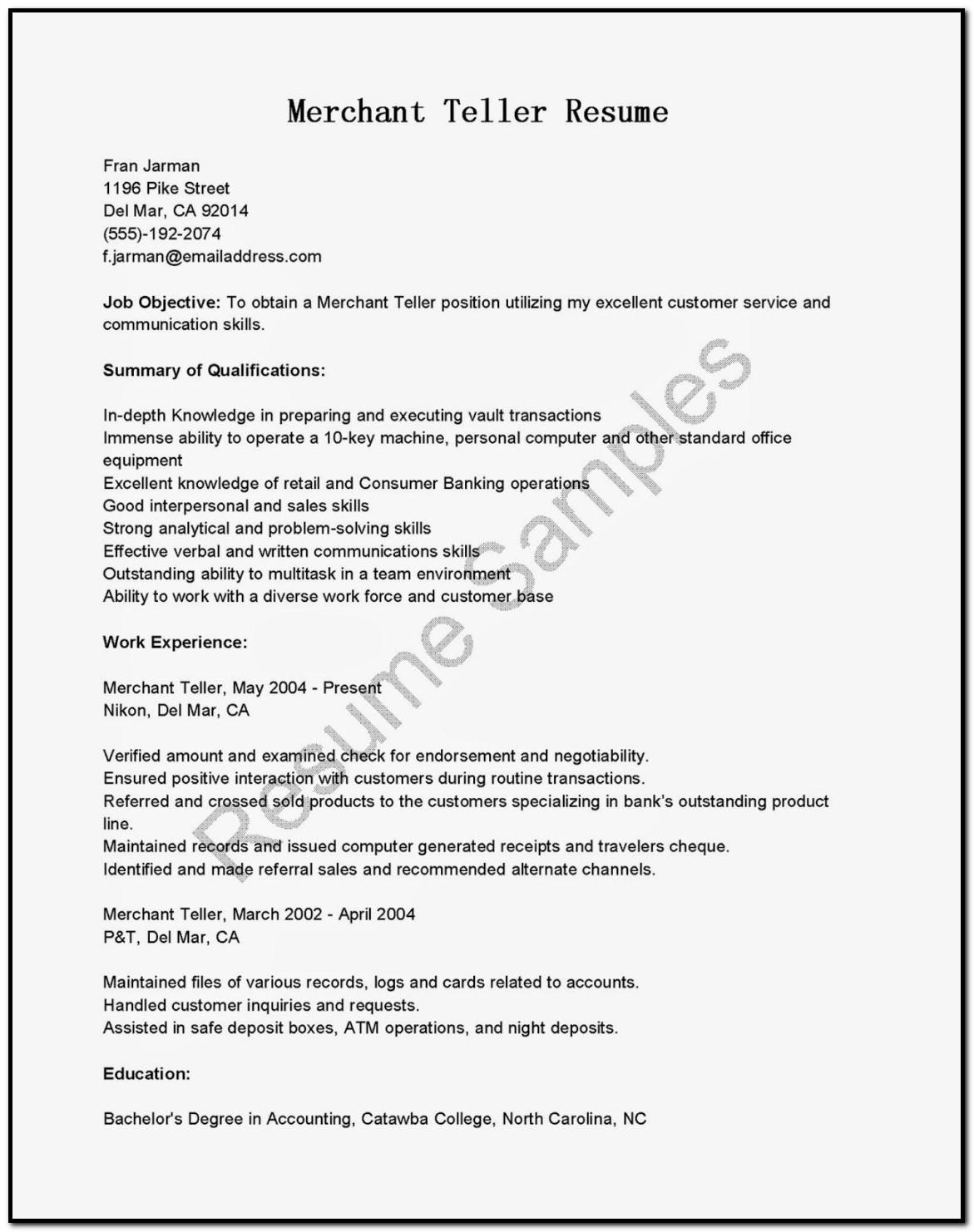 Sample Cover Letter For Resume Bank Teller