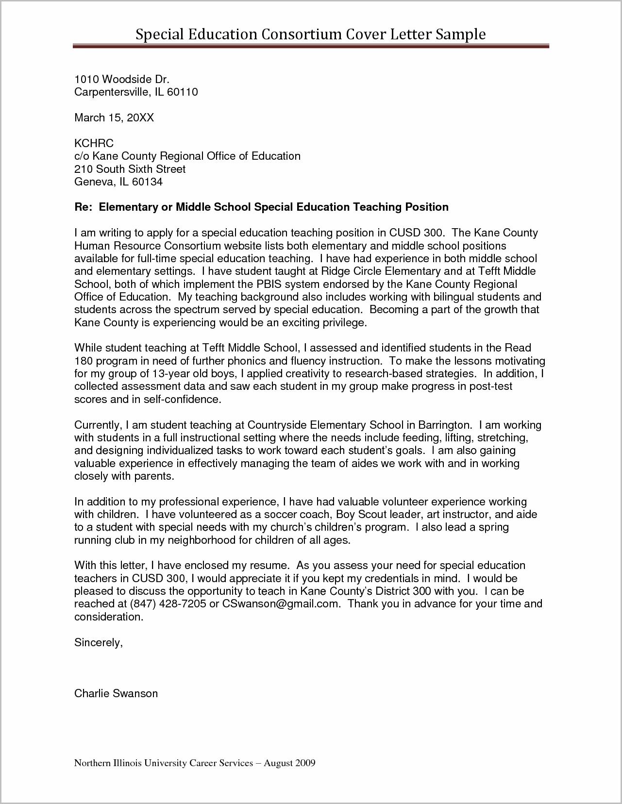 Sample Cover Letter For Resume Higher Education