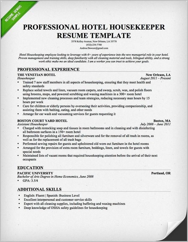 Sample Cover Letter For Resume Housekeeping