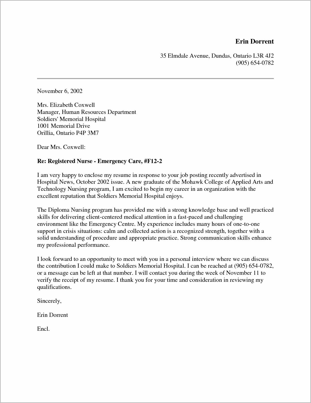 Sample Cover Letter For Resume New Graduate Nurse