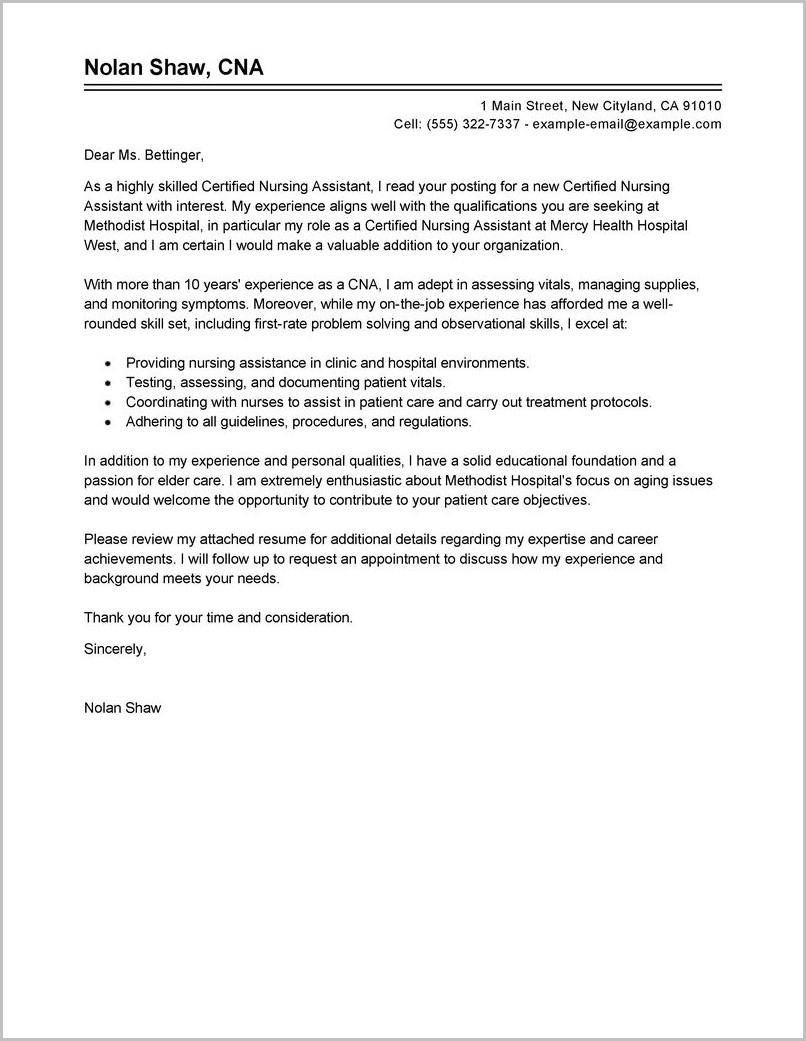 Sample Cover Letter For Resume Nursing Assistant