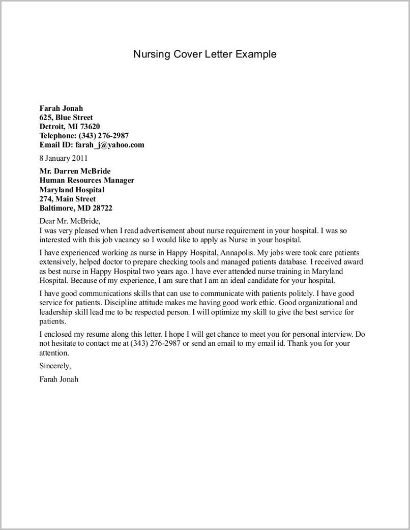 Sample Of Cover Letter For Resume Nurse