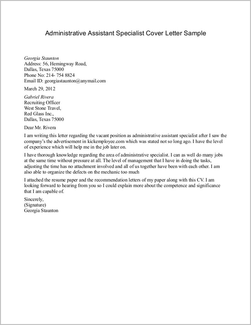 Sample Resume And Cover Letter For Administrative Assistant