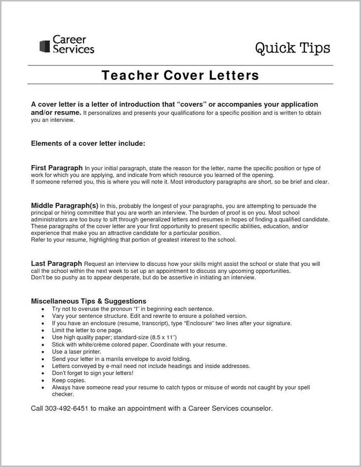 Sample Resume And Cover Letters For Teachers