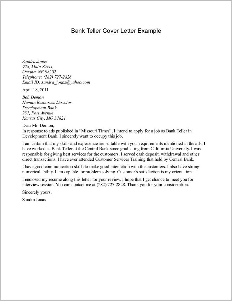 Sample Resume Cover Letter For Bank Teller