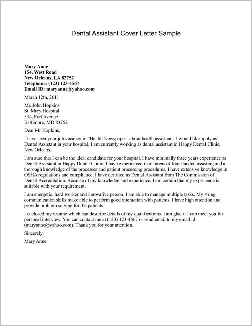 Sample Resume Cover Letter For Dental Assistant
