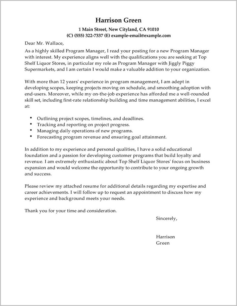 Sample Resume Cover Letter For Executive Director Position