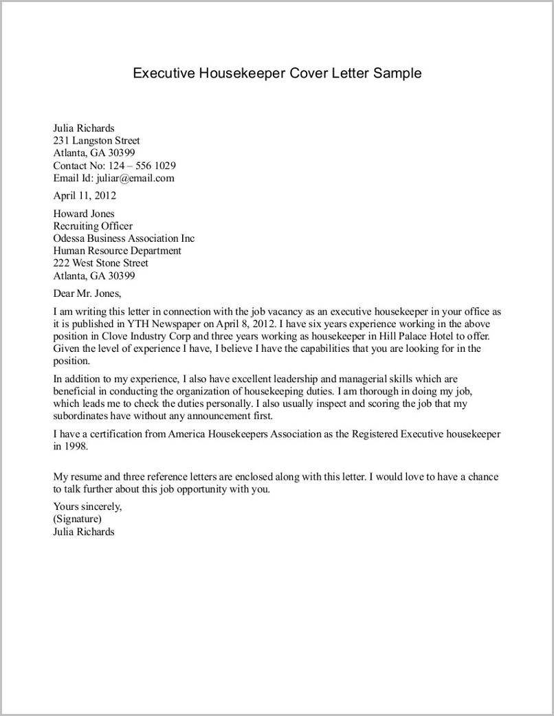 Sample Resume Cover Letter For Housekeeping