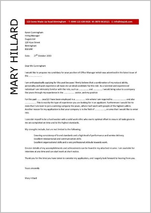 Sample Resume Cover Letter For Office Manager