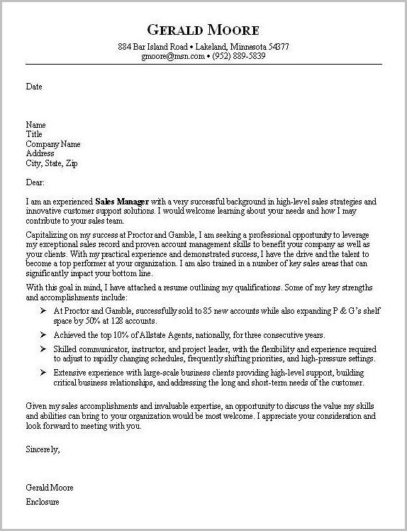Sample Resume Cover Letter For Sales Job