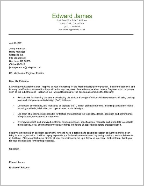 Sample Resume Cover Letter Mechanical Engineer