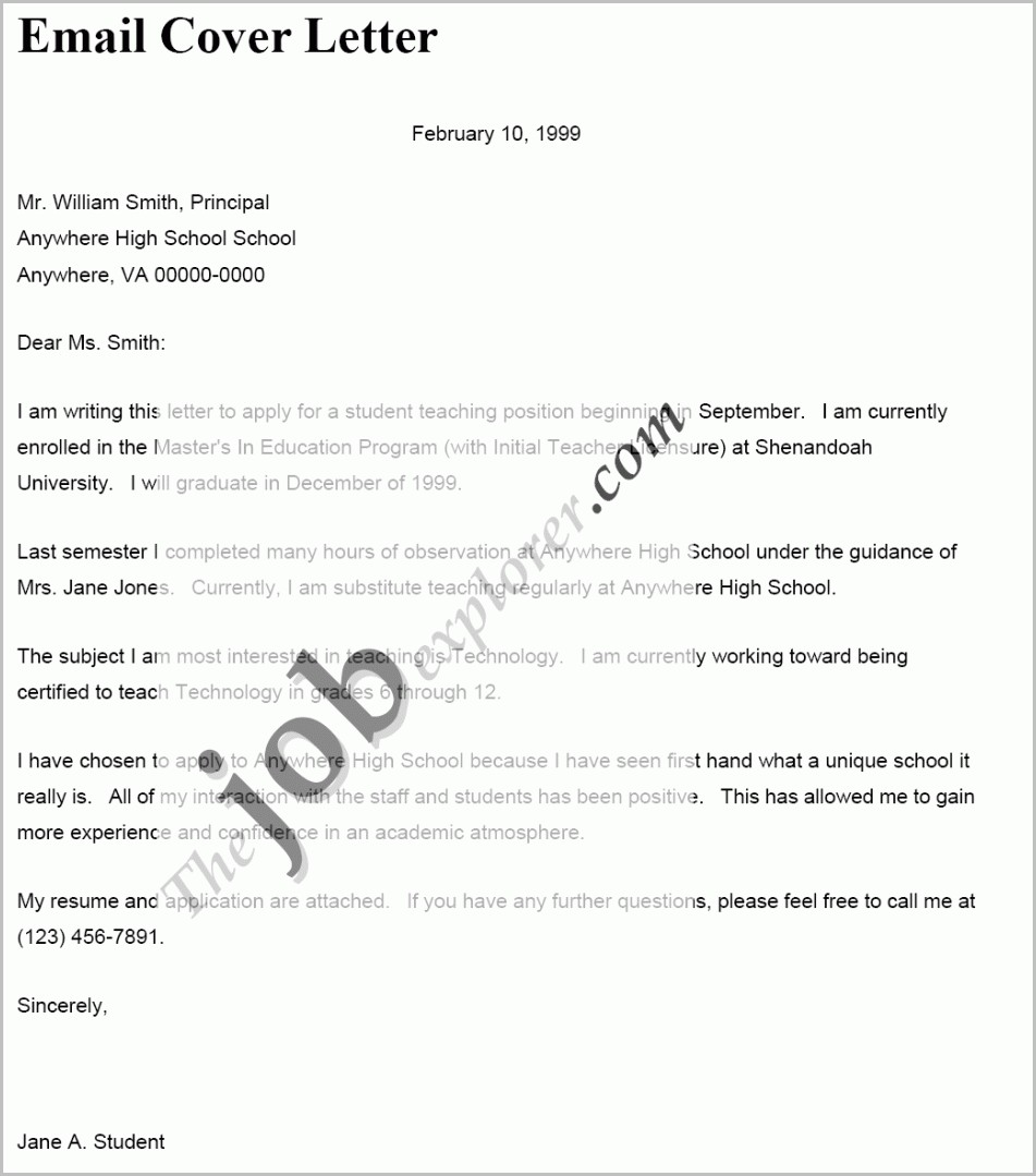 Simple Email Cover Letter Examples For Resume