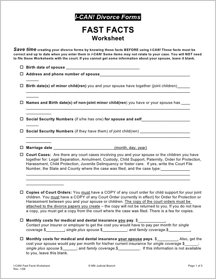 State Of Minnesota Divorce Forms