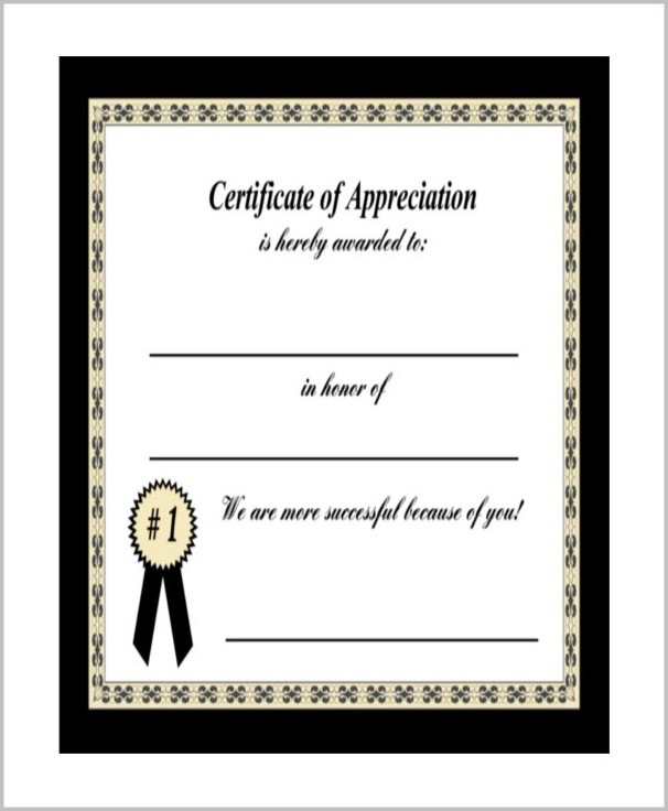 Template Of Certificate Of Appreciation
