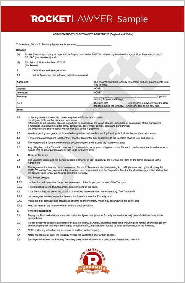 Tenancy Agreement Template Uk Word Document