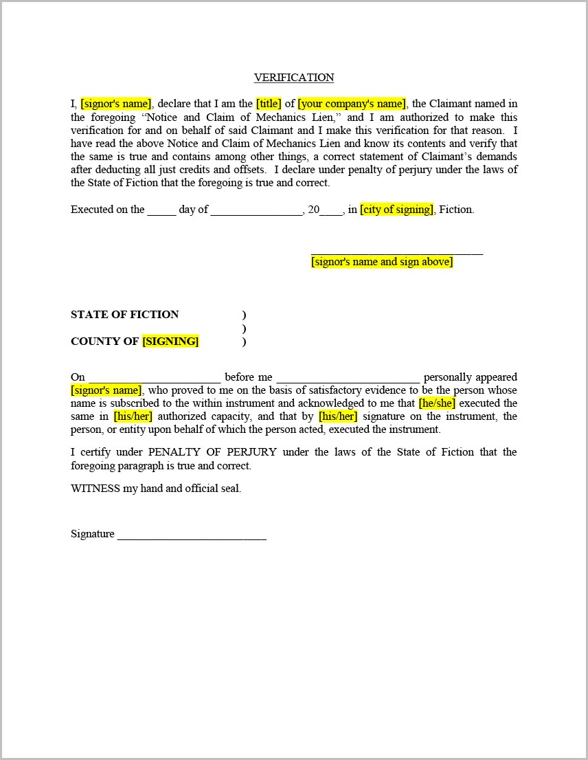 Texas Construction Lien Release Form