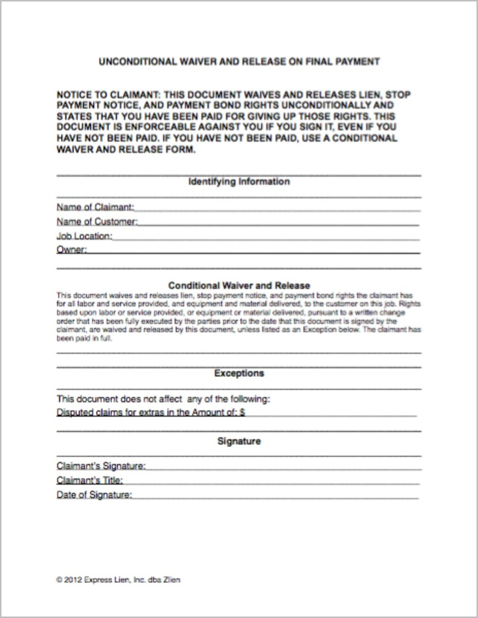 Texas Construction Lien Waiver Form