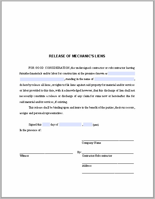 Texas Mechanic's Lien Contract