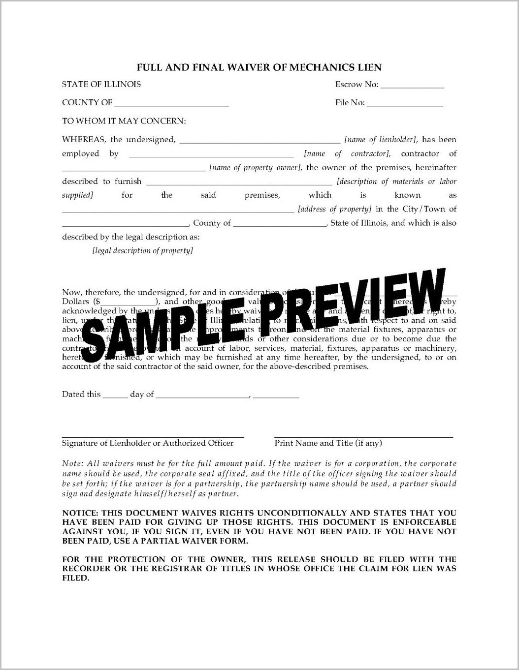 Texas Mechanic's Lien Title