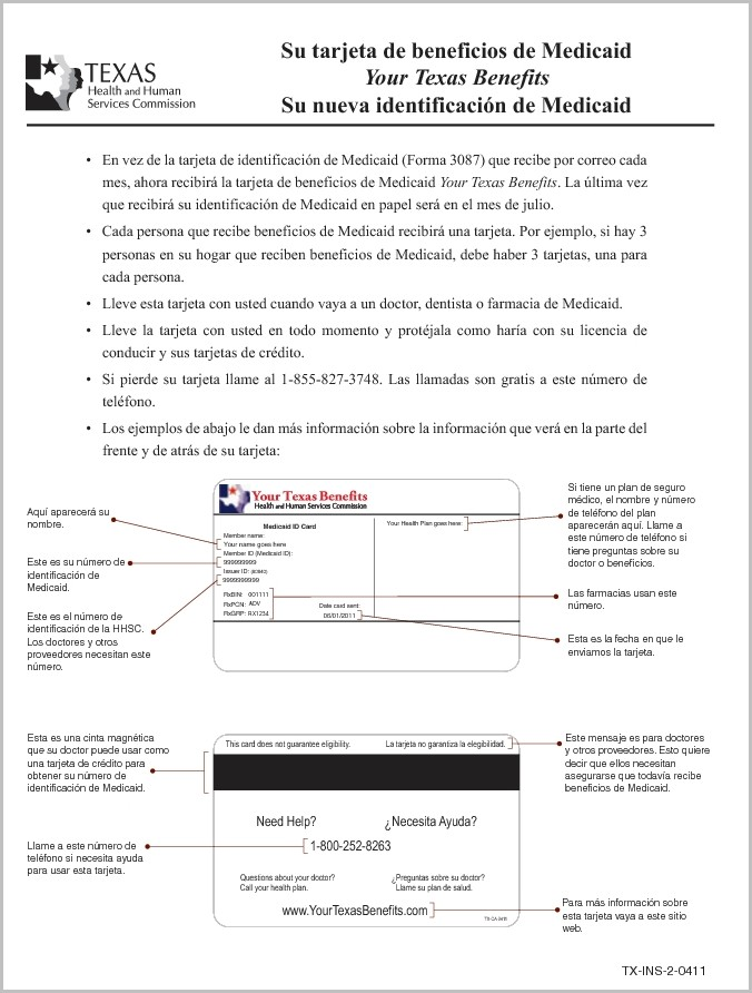 Texas Medicaid Application Form Spanish