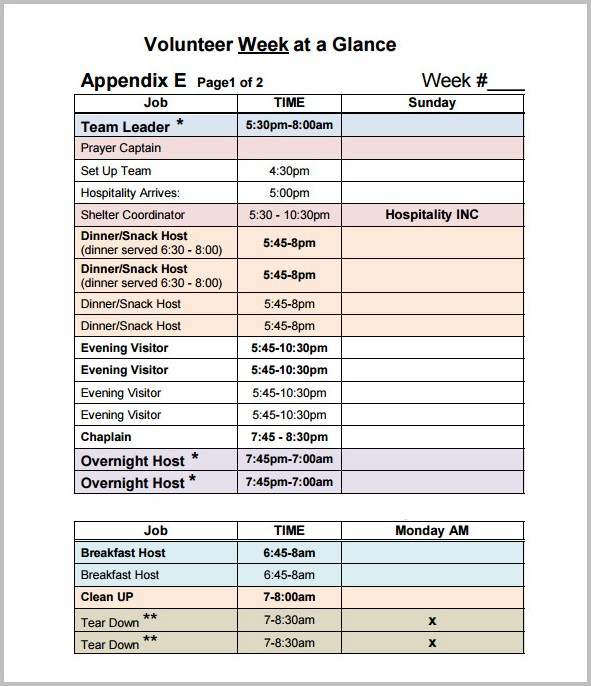 Volunteer Work Schedule Template