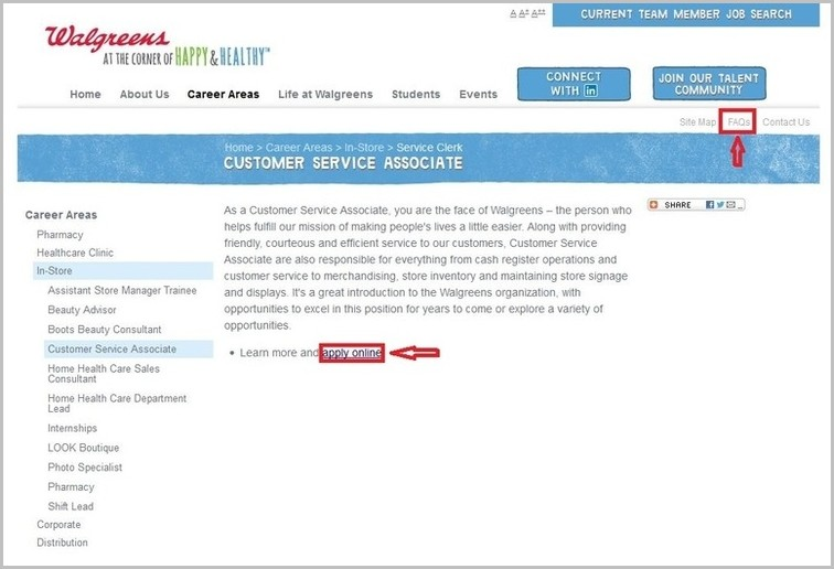 Walgreens Job Application Website