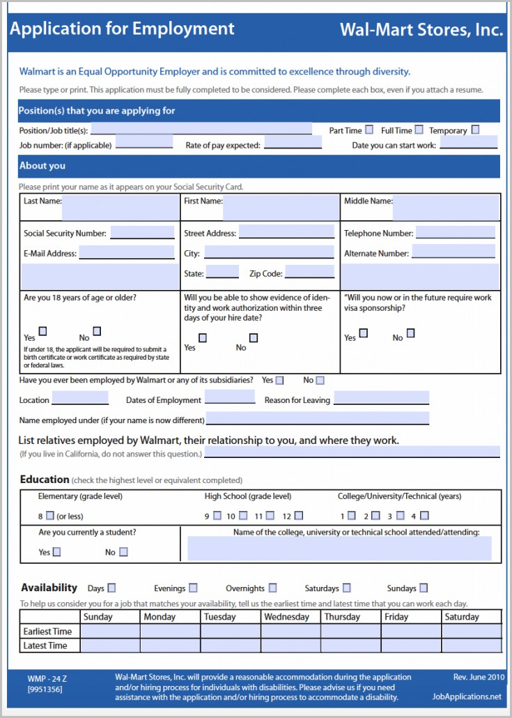 Walmart Retail Job Application