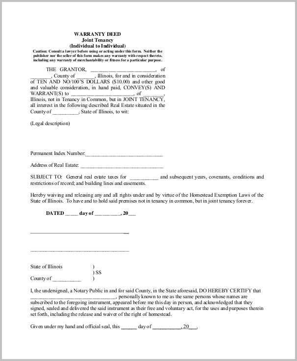 Warranty Deed Form Example