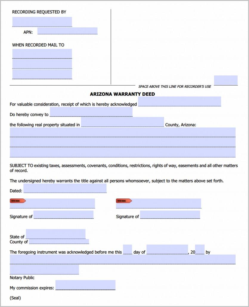 Warranty Deed Form For Arizona