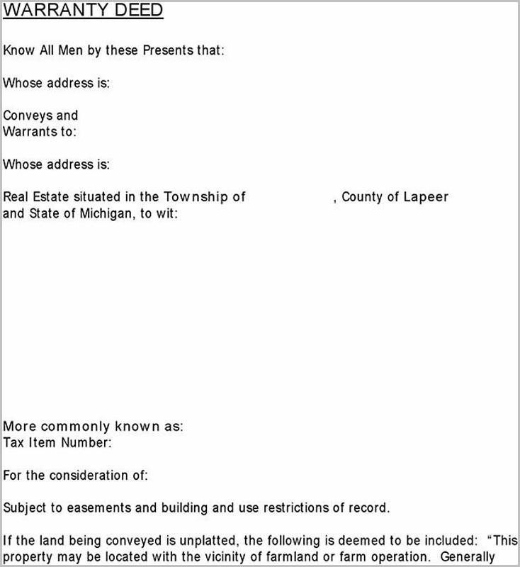 Warranty Deed Form For Michigan