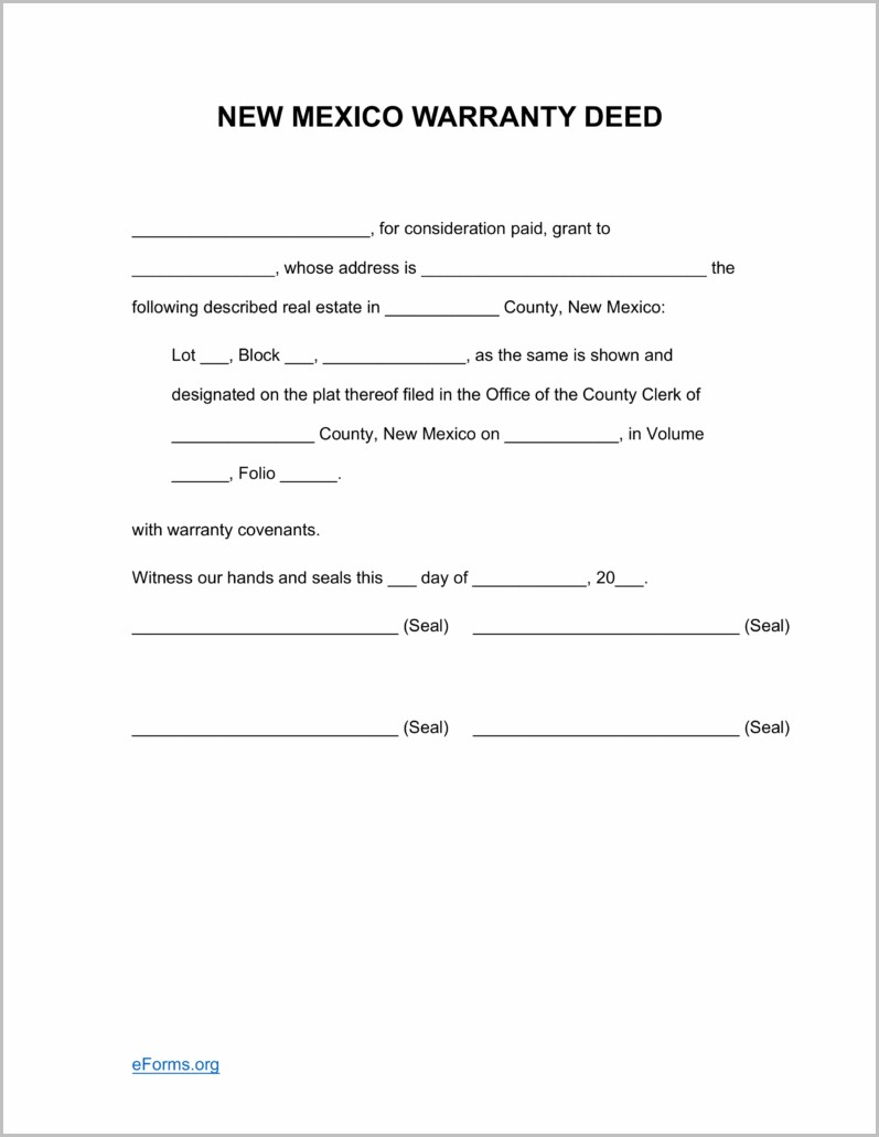 Warranty Deed Form For New Mexico