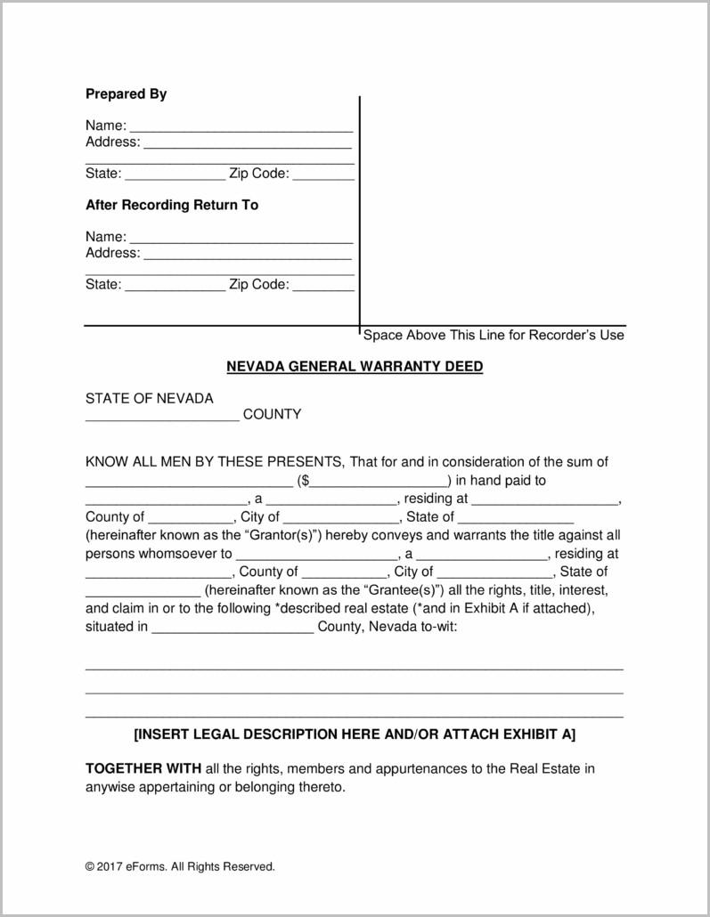 Warranty Deed Form Nevada