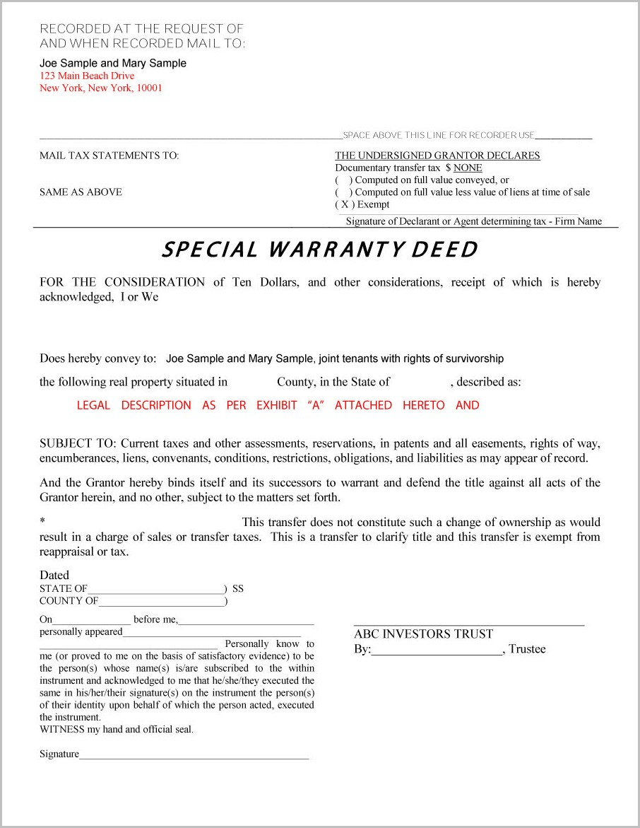 Warranty Deed Form New York