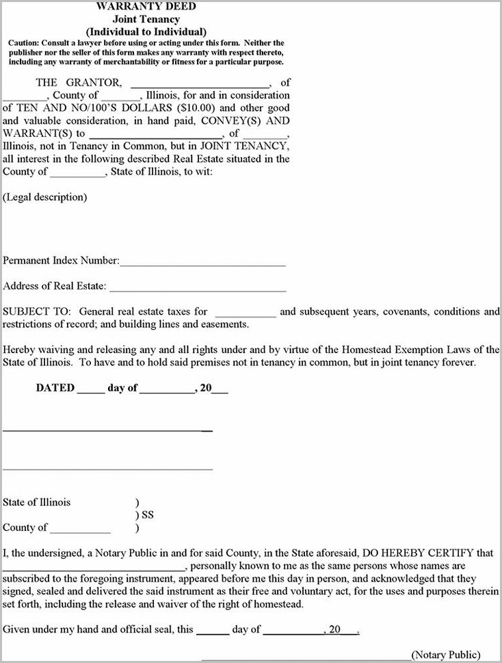 Warranty Deed Joint Tenancy Form