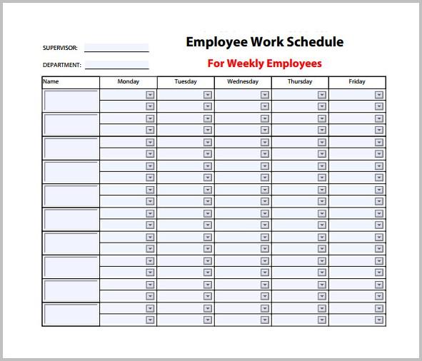 Weekly Work Schedule Template Pdf