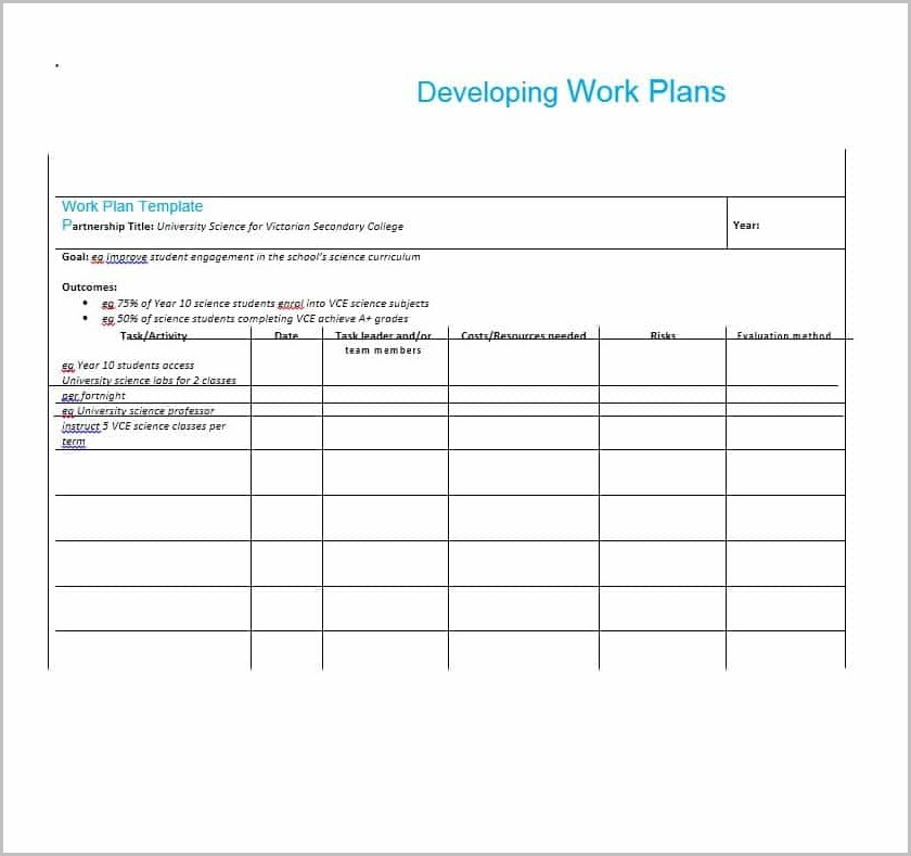 Work Plan Template For A Project