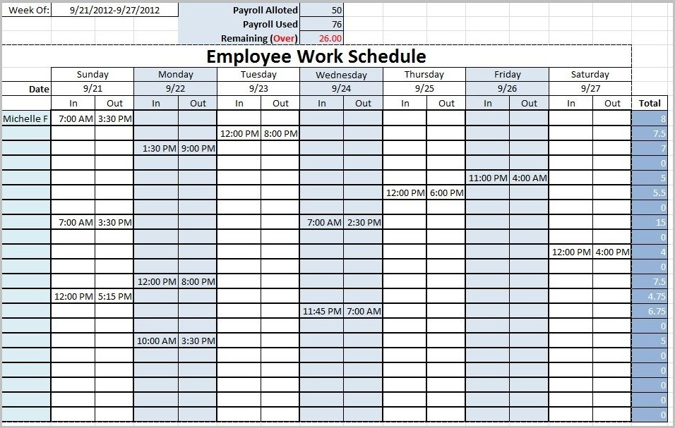 Work Schedule Sheet Template