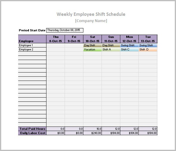 Work Schedule Template Daily