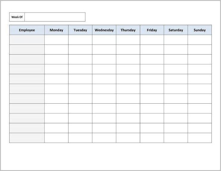 Work Schedule Template Printable