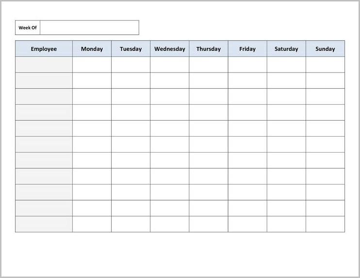 Work Schedule Template Printable