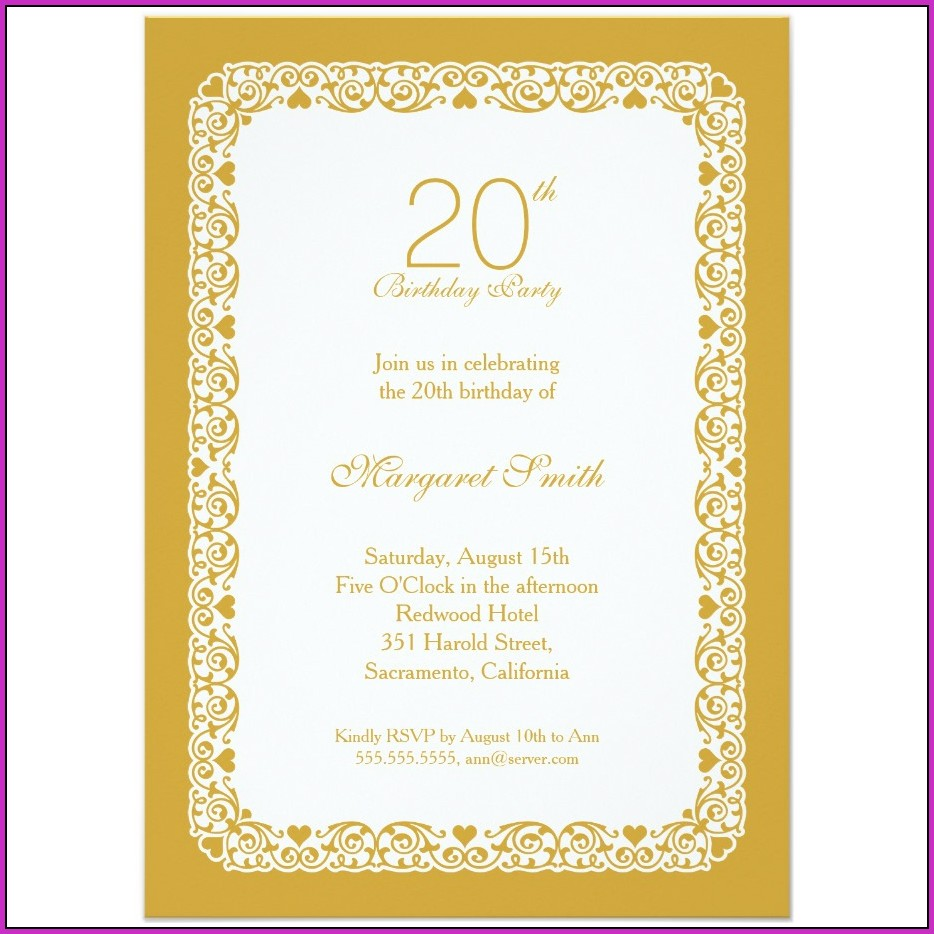 20th Birthday Invitation Templates